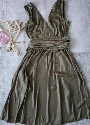 Нарядное стильное и легкое платье от caroline biss в цвете хаки с бантом,длина миди2 фото