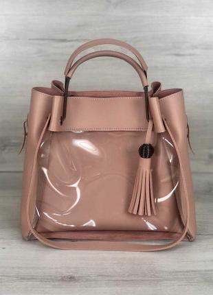 Молодежная сумка розовая, пудра, прозрачная, летняя, 3 цвета