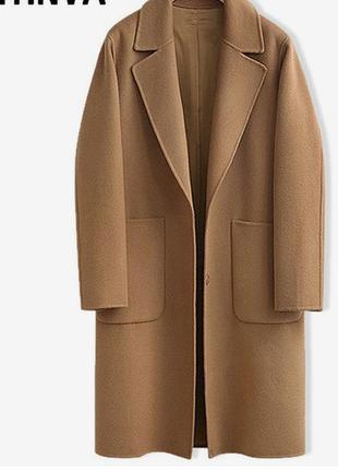 Фирменное стильное качественное натуральное шерстяное пальто цвет cemel.