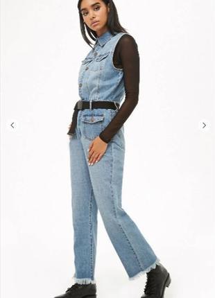 Трендовый стильный джинсовый комбинезон forever21