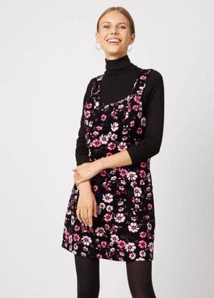 Актуальный вельветовый джинсовый сарафан комбинезон платье в цветочный принт george