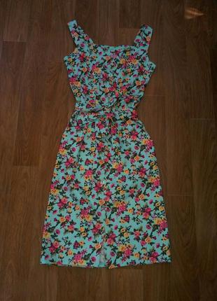 Платье миди на пуговицах цветочный принт