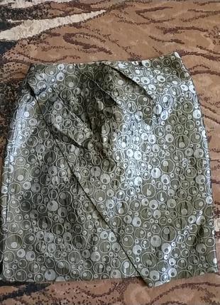Спідниця з золотистого матеріалу з підкладкою