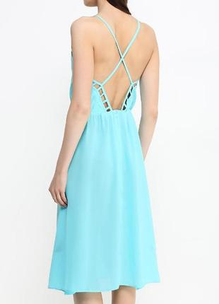 Стильный летний сарафан, пляжное платье с открытой спиной мятного цвета