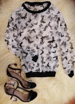 Актуальная шифоновая в принт бабочки блузка свитшот кофта фирма atmosphere