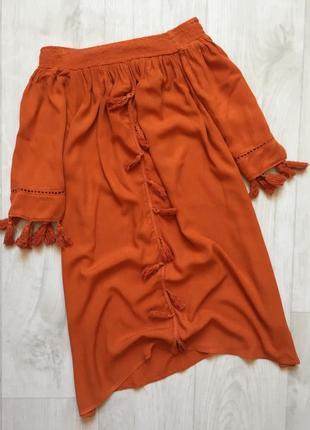 Платье сарафан трапеция на плечи с кисточками свободного кроя boohoo
