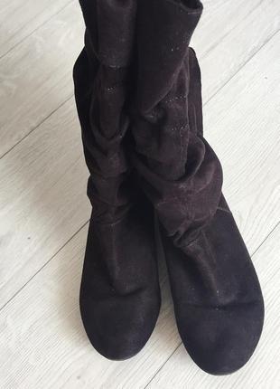 Сапожки, ботинки коричневі, під замшу., зручні ботинки.