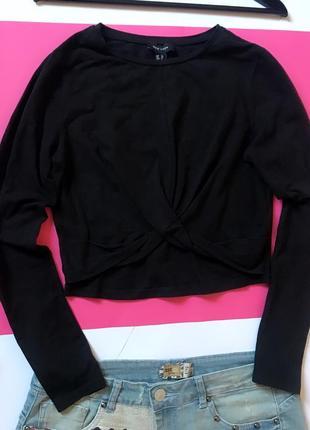 Чёрный кроп-топ с длинными рукавами топ свитшот.3 фото