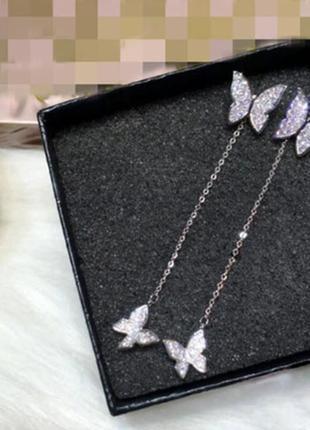 Шикарные серьги бабочки, покрытие серебро 925 пробы, цирконы4 фото