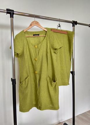 Льняной костюм (жакет+миди юбка)