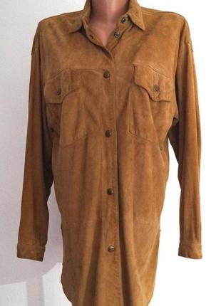 100% натуральная замшевая рубашка..тонкая и мягкая..р 44-48..на кнопках.эксклюзив.