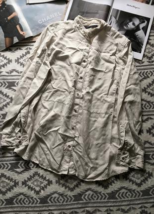 Прелестная бежевая рубашка свободный крой