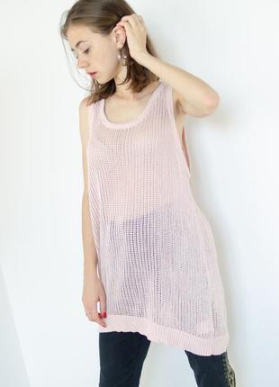 Cheap monday нежно розовая удлиненная вязанная майка свободного силуэта, длинная
