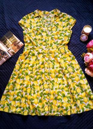 Красивое натуральное хлопковое платье в лимоны размер 16-18 (48-50)