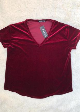 Красивая бархатная футболка boohoo новая с биркой