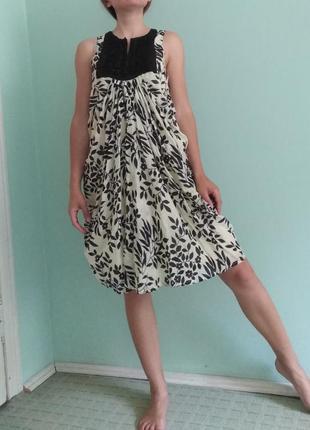 Платье люкс—бренда twin set (шелк, хлопок) с изысканной вышывкой и оригинальным кроем