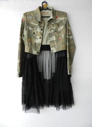 ✅крутой пиджак милитари с патчами болеро с фатиновым хвостом сетка
