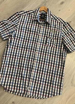 Стильная рубашка в клетку, рубашка короткий рукав, рубашка летняя, рубашка в клеточку