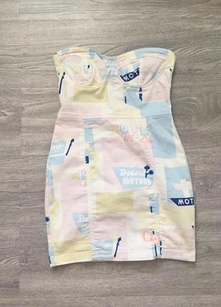 Ооочень крутое джинсовое платье пастельных тонов