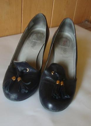 Туфли черные кожаные zalando