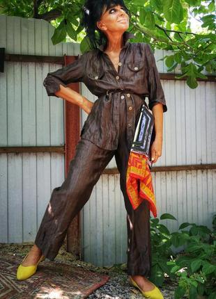 Льняной костюм брючный брюки пиджак блейзер жакет лён высокая талия рубашка