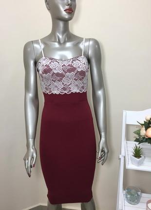 Повна ліквідація товару!!! красиве бордове плаття по фігурі з кружевом на грудях