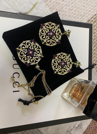 Стильный набор из кулона и серёжек из серебра и позолоты в стиле монако