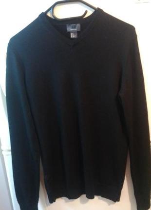 Стильный мужской черный свитер от бренда «н&м»