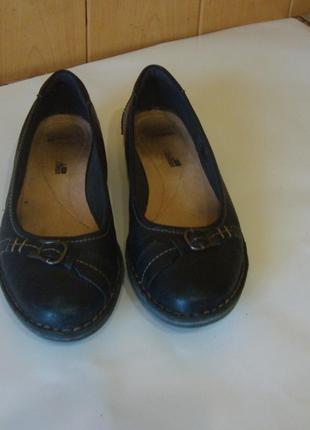 Мокасины туфли черные кожаные clarks