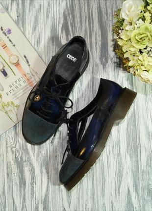 Asos. кожа. фирменные открытие туфли, оксфорды на шнуровке