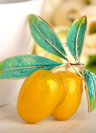 Брошь-подвеска 2-1 оливка желтая эмаль