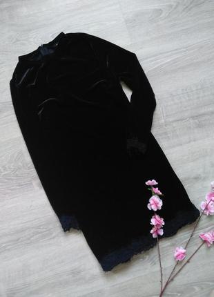 Бархатное черное платье new look