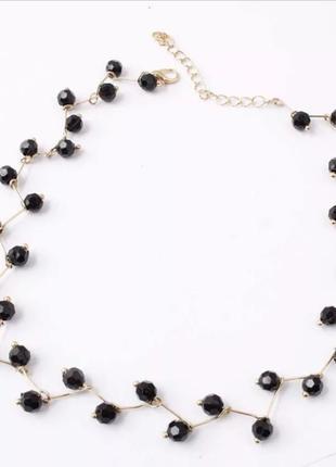 Ожерелье чокер черный бусинки украшение на шею2 фото