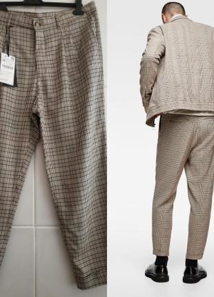 Стильные брюки zara в клетку с подворотами и карманами