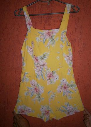 Комбинезон лимонный с нежными цветами рампер вискоза