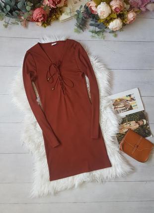 Платье лапша кирпичноо цвета