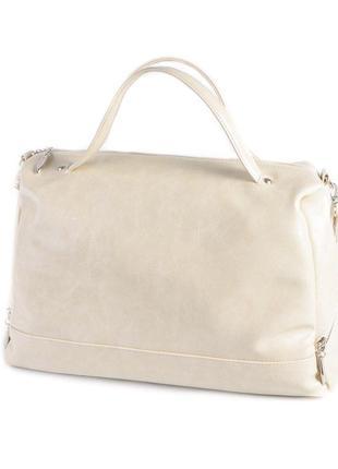 Молочная большая сумка шоппер глянцевая с длинным ремешком