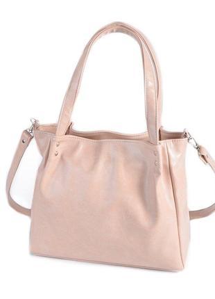 Пудровая летняя сумка с ручками и ремешком через плечо