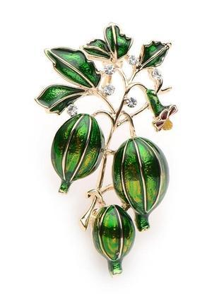 Брошь женская бижутерия с эмалью ягоды крыжовник (с фиксатором) br110946 зелёная