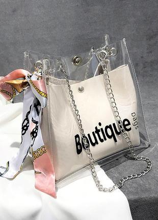 Женская прозрачная сумка мешок boutique с платком белая