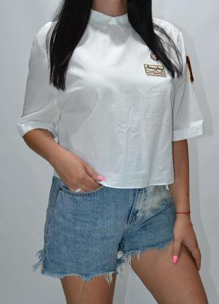 Рубашка распашонка с нашивками zara.