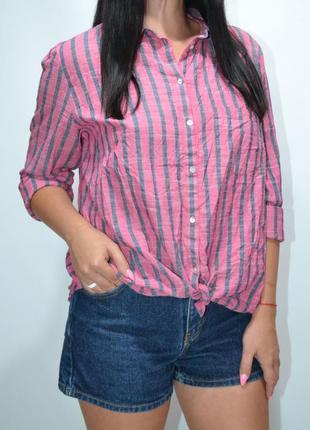 Рубашка в полоску 100% лен montego