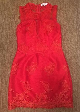 Morgan французское платьице, красное кружево 44р