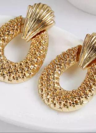 Серьги в стиле zara золото сережки винтаж вечерние