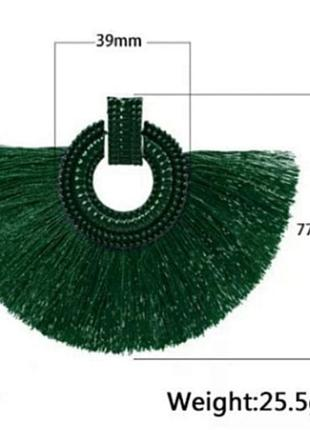 Серьги зеленые нити бахрома кисти в стиле zara сережки5 фото