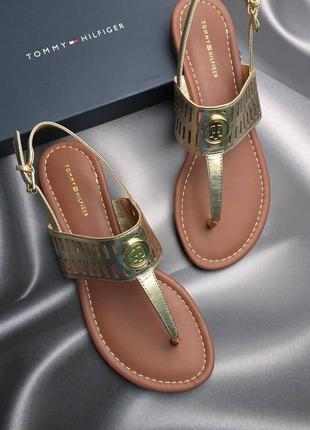 Tommy hilfiger сандалии золотистые бренд оригинал из сша
