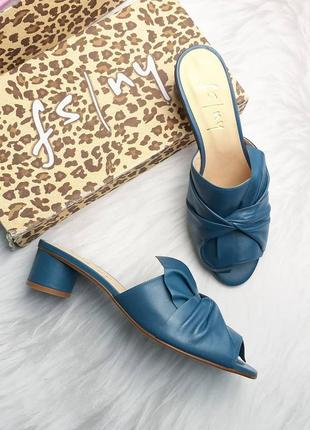 Fs/ny оригинал синие кожаные сабо на небольшом каблуке