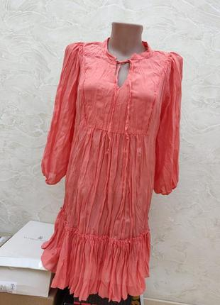 Платье волан воздушное жатка пляжное свободное