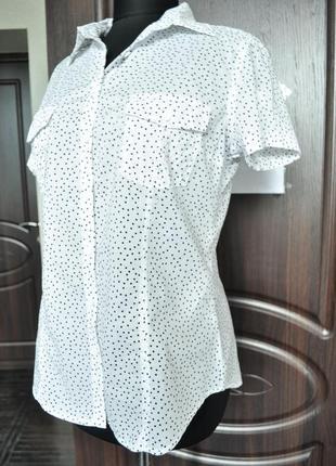 Біла сорочка в дрібний горошок на короткий рукав