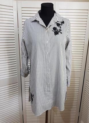 Стильная блуза рубашка в полоску с вышивкой primark